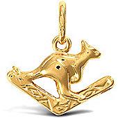 Jewelco London 9ct Yellow Gold Kangaroo & boomerang Charm