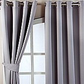 Homescapes Grey Herringbone Chevron Blackout Curtains Pair Eyelet Style, 46x90""
