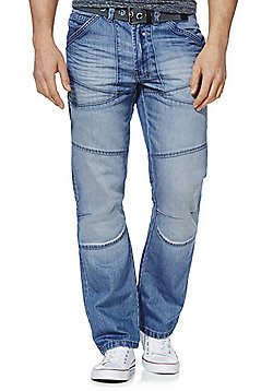 F&F Light Wash Straight Leg Jeans with Belt - Blue