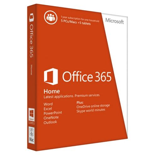 Microsoft Office 365 Home - 1 year subcription for 5 PCs/Macs + 5 tablets