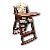 Safetots Folding Wooden Highchair Dark with Cream Cushion