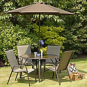 Suntime Havana Bronze 4 Seat 1.2m Round Stacking Dining Set