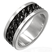 Urban Male Men's Ring In Two Colour Stainless Steel Chain Effect 8mm Band