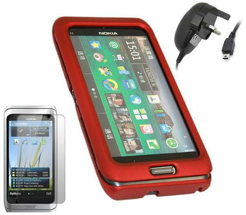 iTALKonline Red SnapGuard Case, LCD Screen Protector and Mains Charger - For Nokia E7 SmartPhone