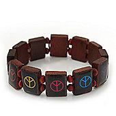 Brown Wooden 'Peace' Flex Bracelet - Adjustable