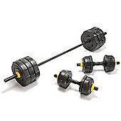 Everlast 50kg Weight Set with Barbell & Dumbells Vinyl Fortek