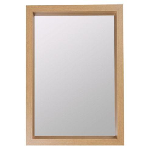 Deep Framed Mirror Light Wood