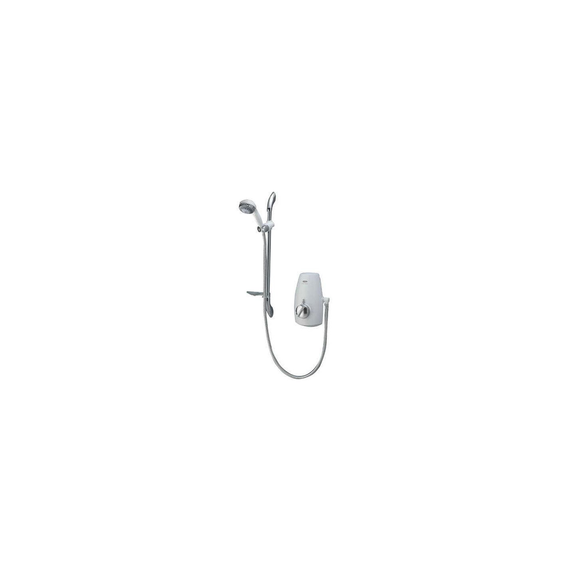 Aqualisa Aquastream Thermo Power Shower with Adjustable Head White / Chrome at Tesco Direct