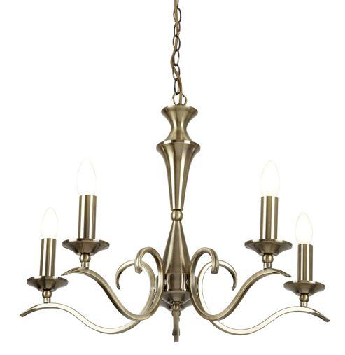 Endon Lighting Five Light Chandelier - Antique Brass
