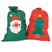 Large Felt Christmas Gift Bag Santa Sack - Red and Green Set