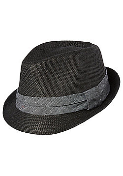 F&F Chambray Band Straw Trilby - Black