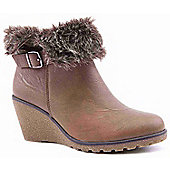 Emilio Luca X Ladies Fur Tan Wedge Boots