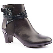 Hush Puppies Ladies Coco Imagery Black Ankle Boots