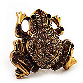 Amber Coloured Diamante Frog Flex Ring (Antique Gold Metal) - Size 8/9 (Stretch)