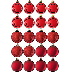 Pack of 20 Glitter, Matte & Shiny Red 5cm Christmas Baubles