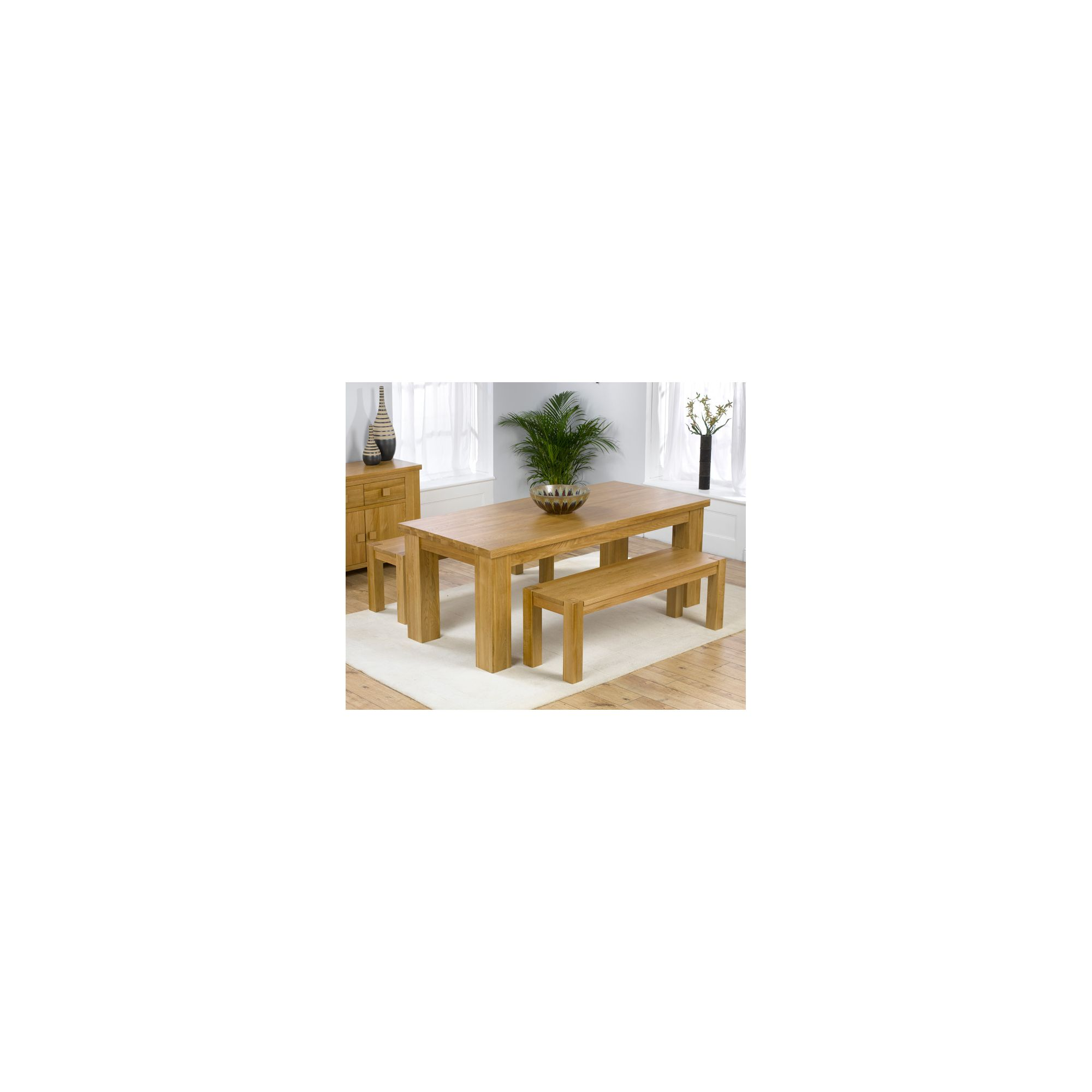 Mark Harris Furniture Barcelona Solid Oak Dining Table with Benches