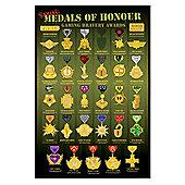 Medals of Honour Gloss Black Framed Gaming Bravery Awards Poster