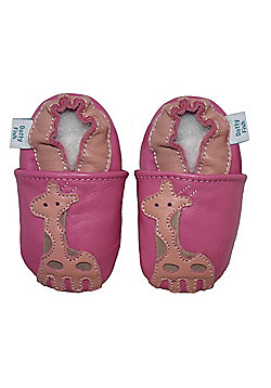 Dotty Fish Soft Leather Baby Shoe - Pink Giraffe - Pink