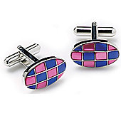 Pink and Blue Check Oval Cufflinks