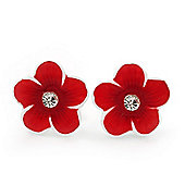 Children's Red 'Daisy' Stud Earrings With Clear Crystal - 13mm Diameter