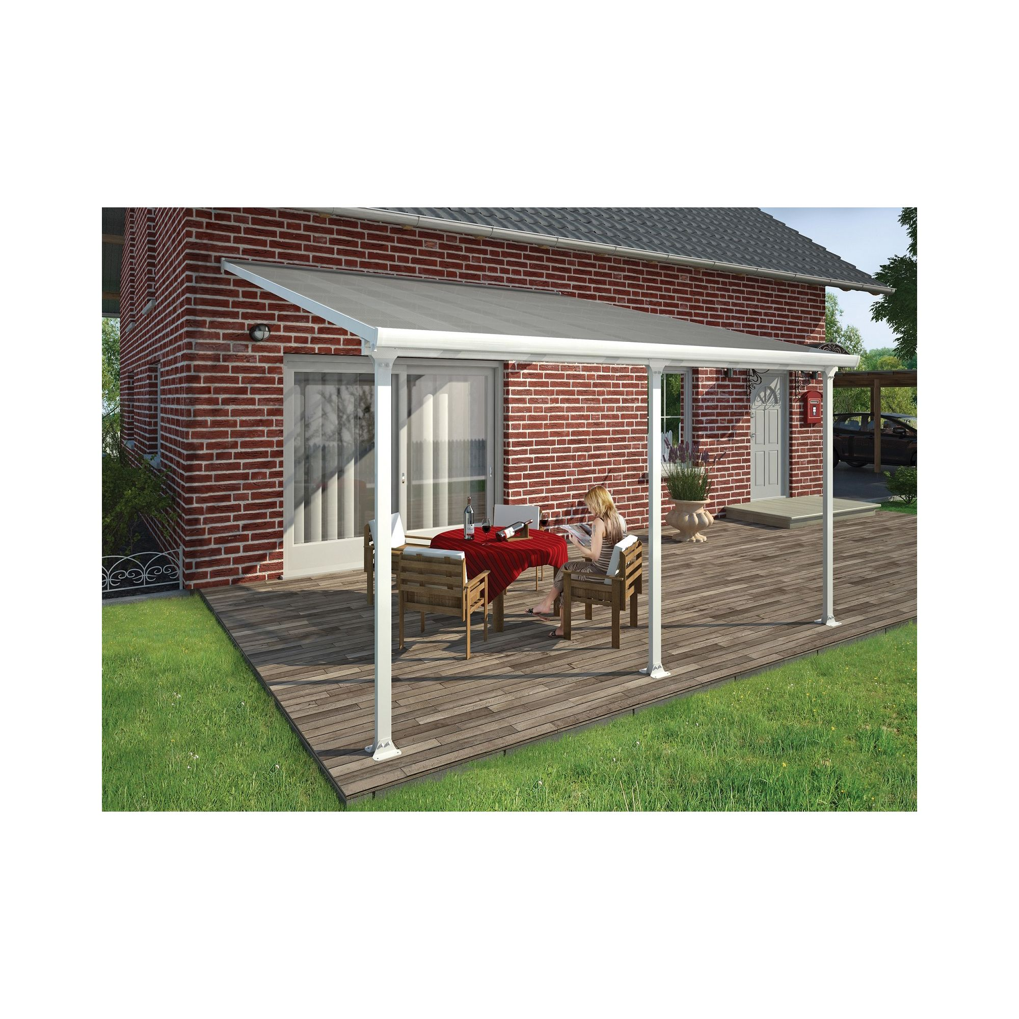 FERIA LEAN TO CARPORT AND PATIO COVER 4X4.25 WHITE at Tesco Direct
