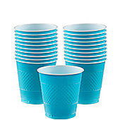 Caribbean Turquoise Cups - 266ml Plastic Party Cups, Pack of 20
