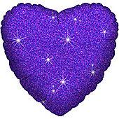 """Purple Dazzler Heart Balloon - 18"""" Foil (each)"""