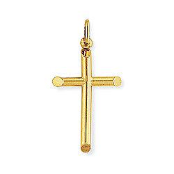 Jewelco London 9ct Yellow Gold - Polished Cross Charm Pendant -