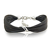 Jewelco London Sterling Silver - Mesh Charcoal-hue Galvanised Wristpiece - Bangle - Ladies