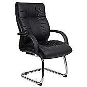 Office Sense Derby Soft Leather Visitor's Chair in Black