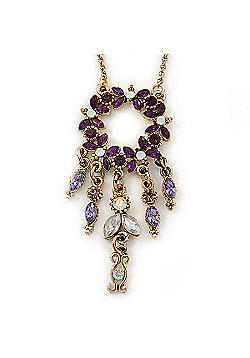 Vintage Inspired Purple Diamante Round Pendant With Dangles Gold Tone Chain Necklace - 38cm Length/ 7cm Extension