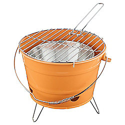 Tesco Small Charcoal Bucket BBQ, Orange