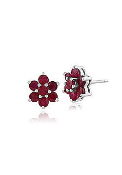 Gemondo 925 Sterling Silver 1.55ct Ruby Floral Cluster Stud Earrings