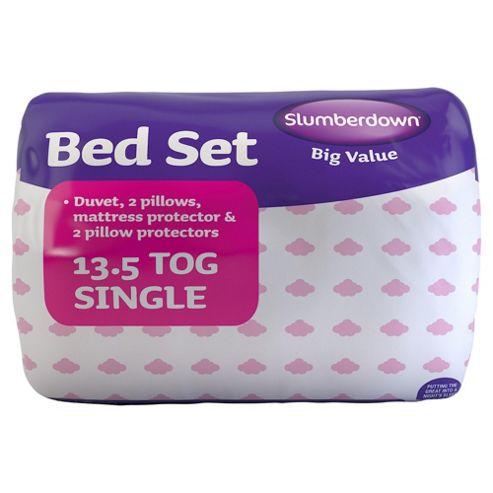 Slumberdown Bed Set: 2 Pillows, 2 Pillow Protectors, 13.5 Tog Duvet and Mattress Protector, Single