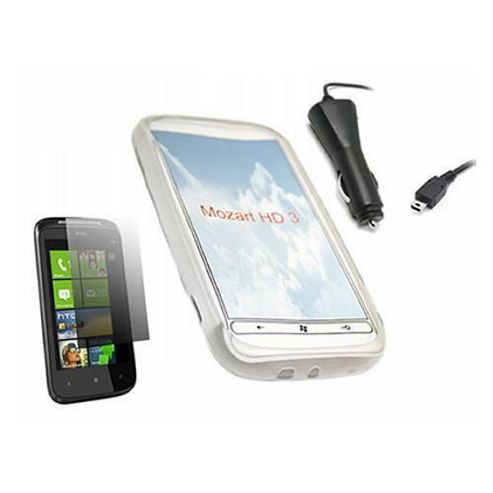 White ProGel Case, LCD Screen Protector, Car Charger - HTC Mozart