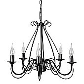 Five Way Ceiling Light Chandelier in Black