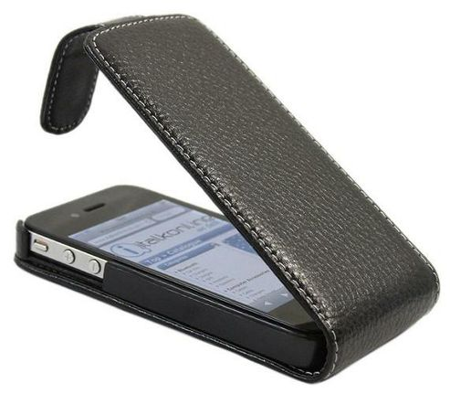 Black Genuine Leather FlipMatic Easy Clip On Vertical Pouch Case - Apple iPhone 4