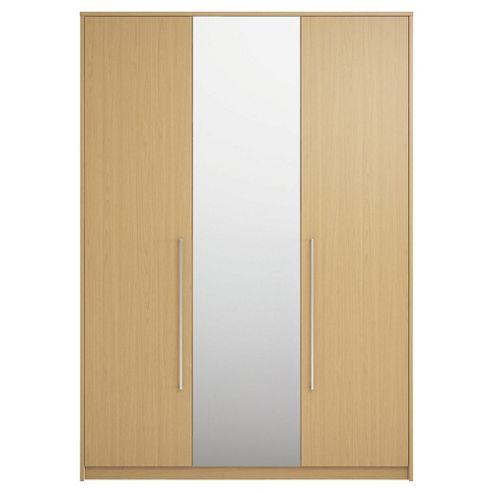 Adria Tall Oak Triple Wardrobe With Tall Oak Plain And Mirror Doors