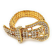 Unique Clear Diamante 'Buckle' Bracelet In Gold Plated Metal - up to 20cm length