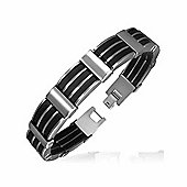 Urban Male Stainless Steel & Black Rubber Modern Link Bracelet