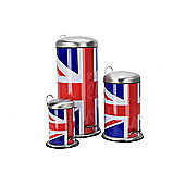 Ethos Cool Britannia Union Jack Pedal Bin (Set of 3)