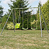 TP Toys Metal Triple Swing Frame with Early Fun & 2 x Lime Green Swing Seat