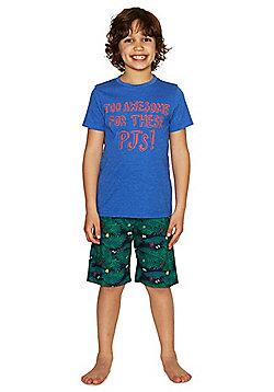 F&F Awesome Slogan Shorts Pyjamas - Blue
