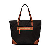 F&F Contrast Trim Tote Bag One Size Black/Tan