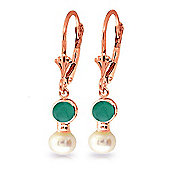 QP Jewellers Emerald & Pearl Dazzle Leverback Earrings in 14K Rose Gold