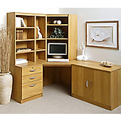 Enduro Home Office Corner Desk / Workstation with Pedestal, Cupboard and Bookshelves - Classic Oak