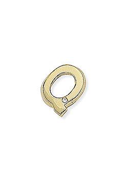 Jewelco London 9ct Yellow Gold - Diamond - Q' Initial Charm Pendant -