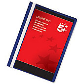 5 Star Project Flat File Lightweight Polypropylene with Indexing Strip A4 Dark Blue [Pack 5]