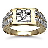 Jewelco London 9 Carat 2-Colour Gold 25pt Gents Diamond Ring