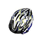 Carrera E0430 Hurricane Youth MTB Helmet Rear Light White/Blue/Lime Small Medium 54-57cm